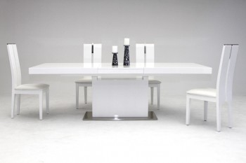 Elegant Stainless Steel Dining Set with High Gloss White Finish
