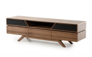Contemporary Walnut TV Stand with Smoked Glass Doors
