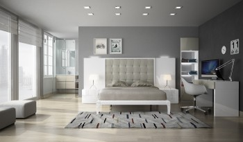 Exclusive Wood Platform Bedroom Sets in High Gloss Lacquer
