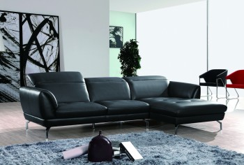 Exotic Half Leather Sectional with Chaise
