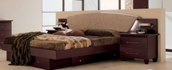 Lacquered Made in Italy Leather Luxury Platform Bed with Light