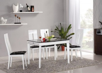 Elegant Extendable White Dining Room Table with Black Glass