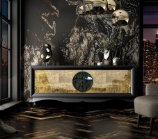 Black and Gold Buffet for Modern Dining