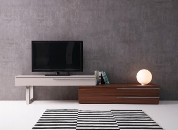 Contemporary Wall Unit with Textured Wood Veneers and Floating Design