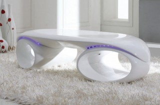 Contemporary Glossy White Coffee Table with LED Lights