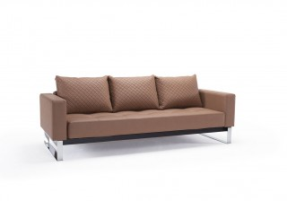 Leather Sofa Bed with Textured Pillow and Color Options
