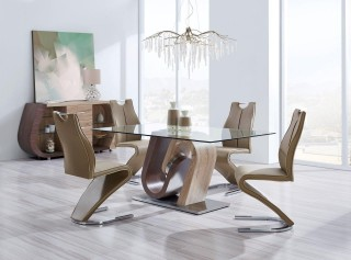 Spectacular Glass Walnut and Oak Five Piece Dining Set