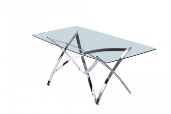 Contemporary Glass and Chrome Dining Table