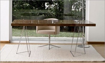 Tropic Dining Table with Chrome Trestles