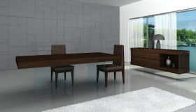 High-class Wooden and Clear Glass Top Fabric Seats Modern Dining Table Sets