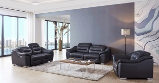 Contemporary Leather Grey Living Room Set
