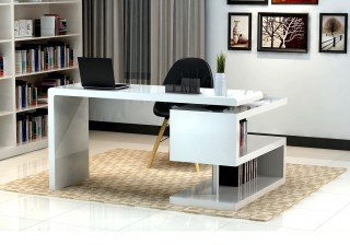 White Matte Finished Office Desk with S Shaped Bookcase