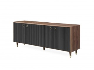 Modern Walnut Buffet with Uniquely Designed Matte Grey Doors