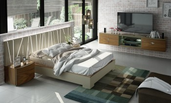 Contemporary Platform Bed with LED Headboard