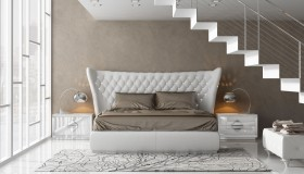 Modern White Finished Platform Bed with Long Headboard