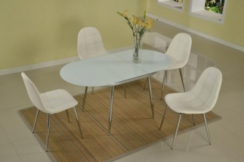 Oval Extendable Frosted Glass Dining Table
