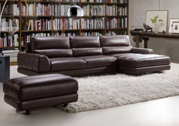 Elegant and Comfortable Espresso Sectional in Italian Made Leather
