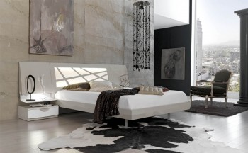 High-class Lacquered Platform and Headboard Bed