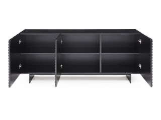 Matte Black Buffet with Wave Doors and Black Matte Metal Legs