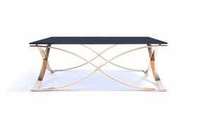 Beautiful Modern Rose gold and Smoked Glass Coffee Table