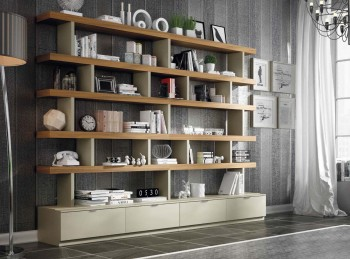 Exclusive Natural Wood Wall Unit for Living Room