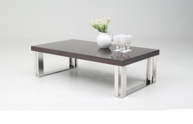 Contemporary Golden Teak Coffee Table on Stainless Steel Base