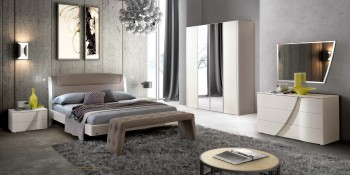 Made in Italy Leather Modern Contemporary Bedroom Designs with Underbed Led