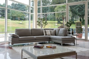 Refined Covered in All Leather Sectional