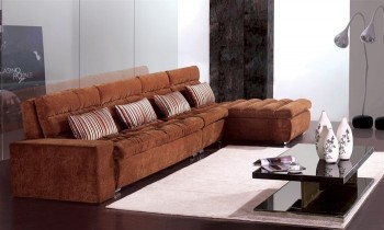 Sophisticated Tufted Curved Sectional Sofa in Micro Fabric