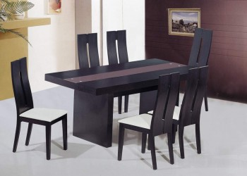 Contemporary Rectangular Dining Table with Brown Glass Insert