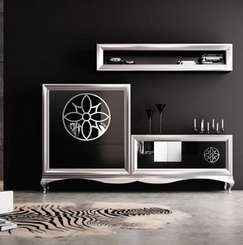 Modern Matte Black and Silver Living Room Wall Unit