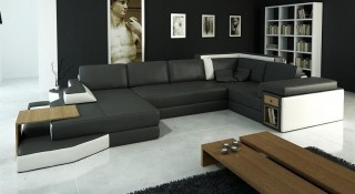Luxurious Half Real Leather Sectional