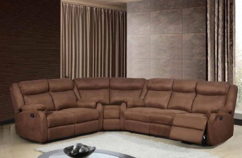 Chocolate Fabric Upholstered Sectional with Reclining Function