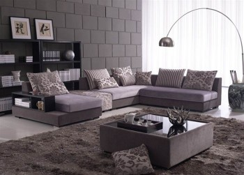 Extravagant Tufted Microfiber Sectional Sofa with Pillows