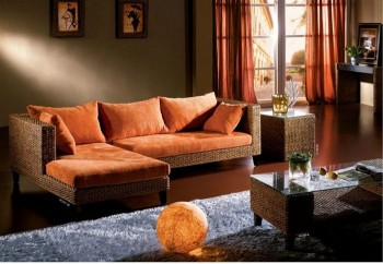 Unique Colorful Microfiber Sectional with Pillows