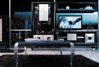 Modern Matte Black and Silver Wall Unit and Entertainment Center