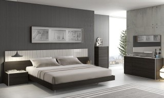 Lacquered Fashionable Wood Platform and Headboard Bed with Long Panels