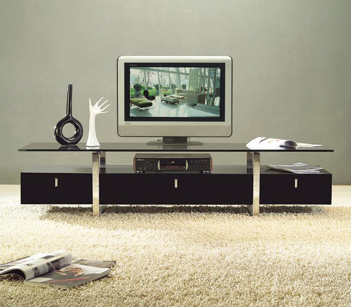 Clear lined design contemporary brown color tv stand with for Table tv design