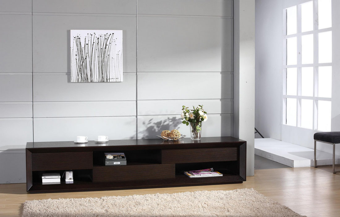 Lcd Tv Stand Designs Wooden : Contemporary wenge wood finish tv stand with unique storage spaces