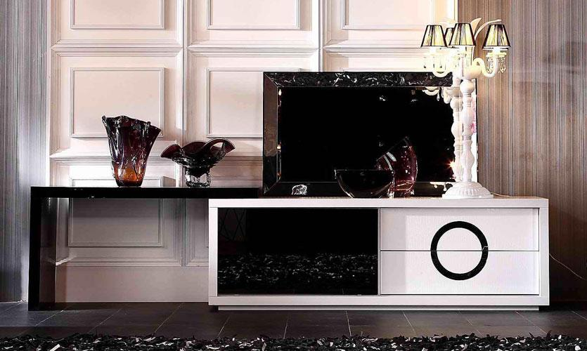Contemporary White And Black Crocodile Texture And Lacquer Tv Stand Indianapolis Indiana Vovi