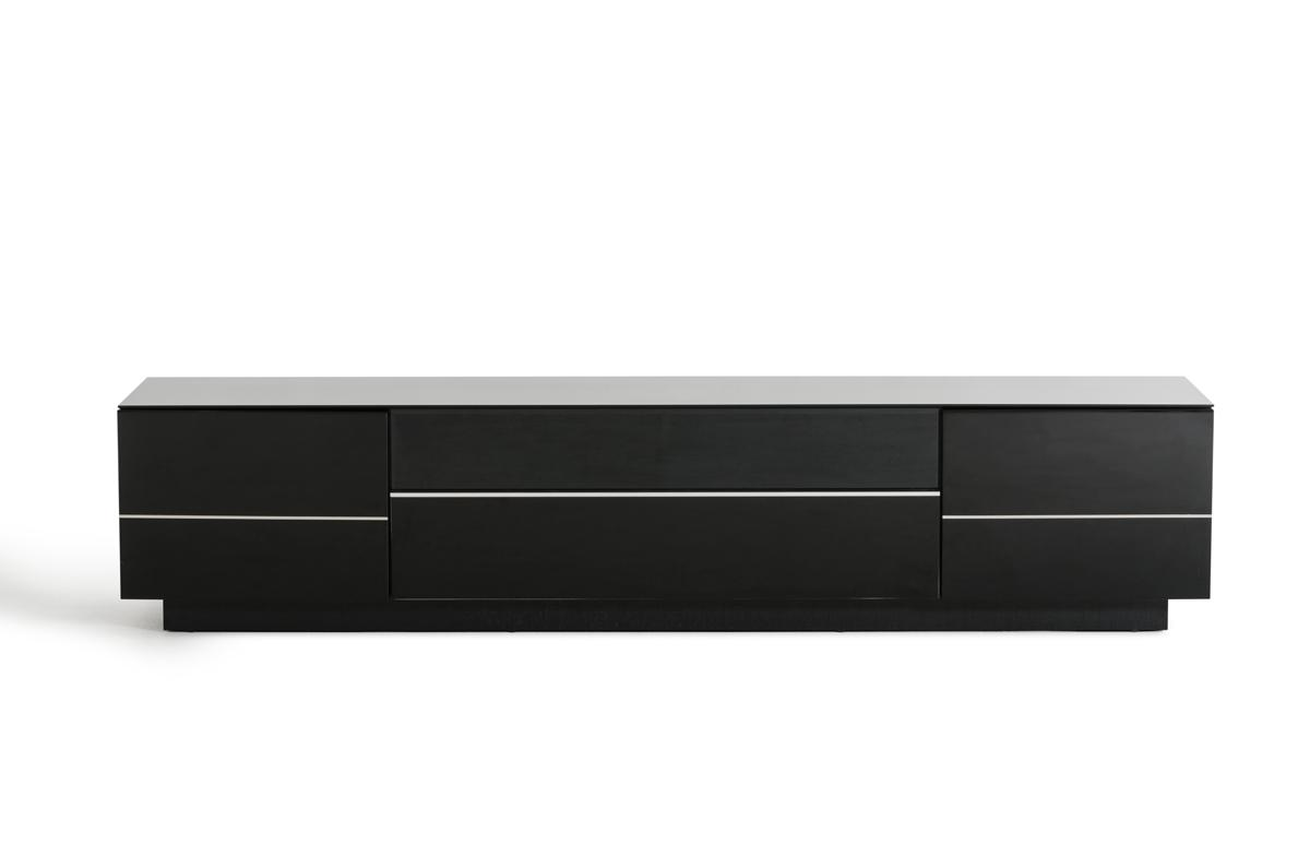 Contemporary Black High Gloss TV Stand With Stainless