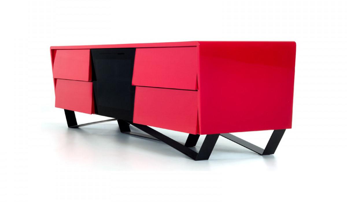 Red Lacquer Tv Console Corner Unit On Legs Chicago Illinois Vig Nova Domus Max Red