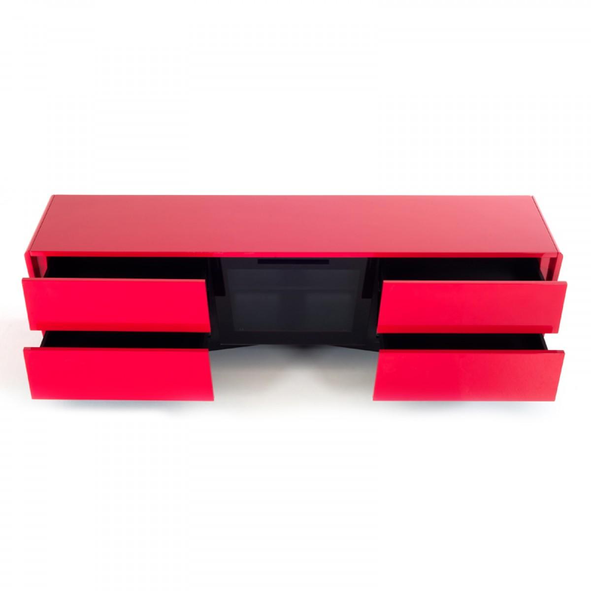 Red Lacquer TV Console Corner Unit on Legs Chicago Illinois VIG