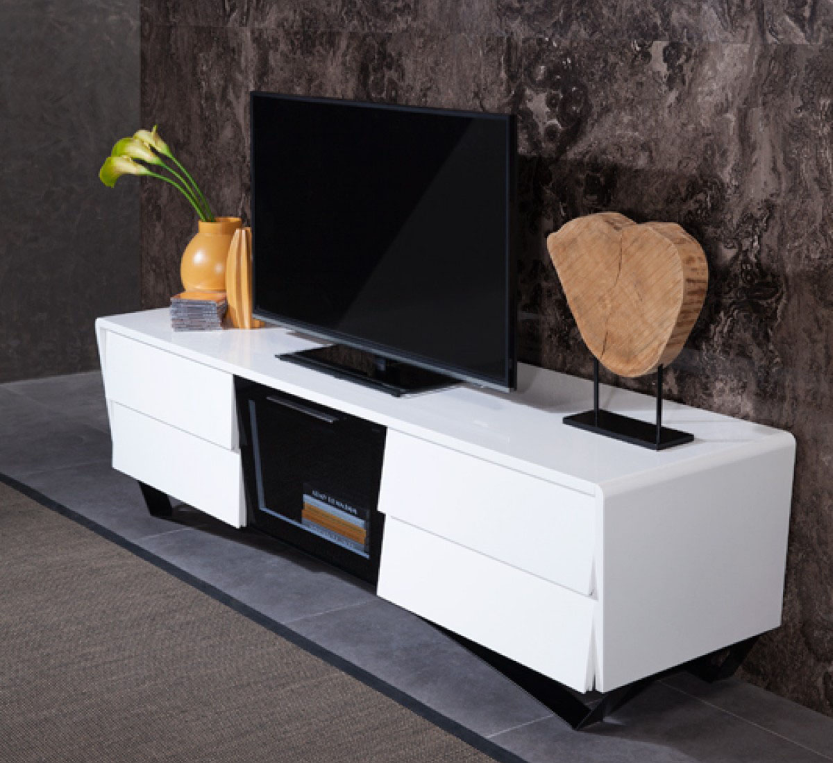 White Tv Console Corner Unit On Legs Los Angeles California Vig Nova Domus Max