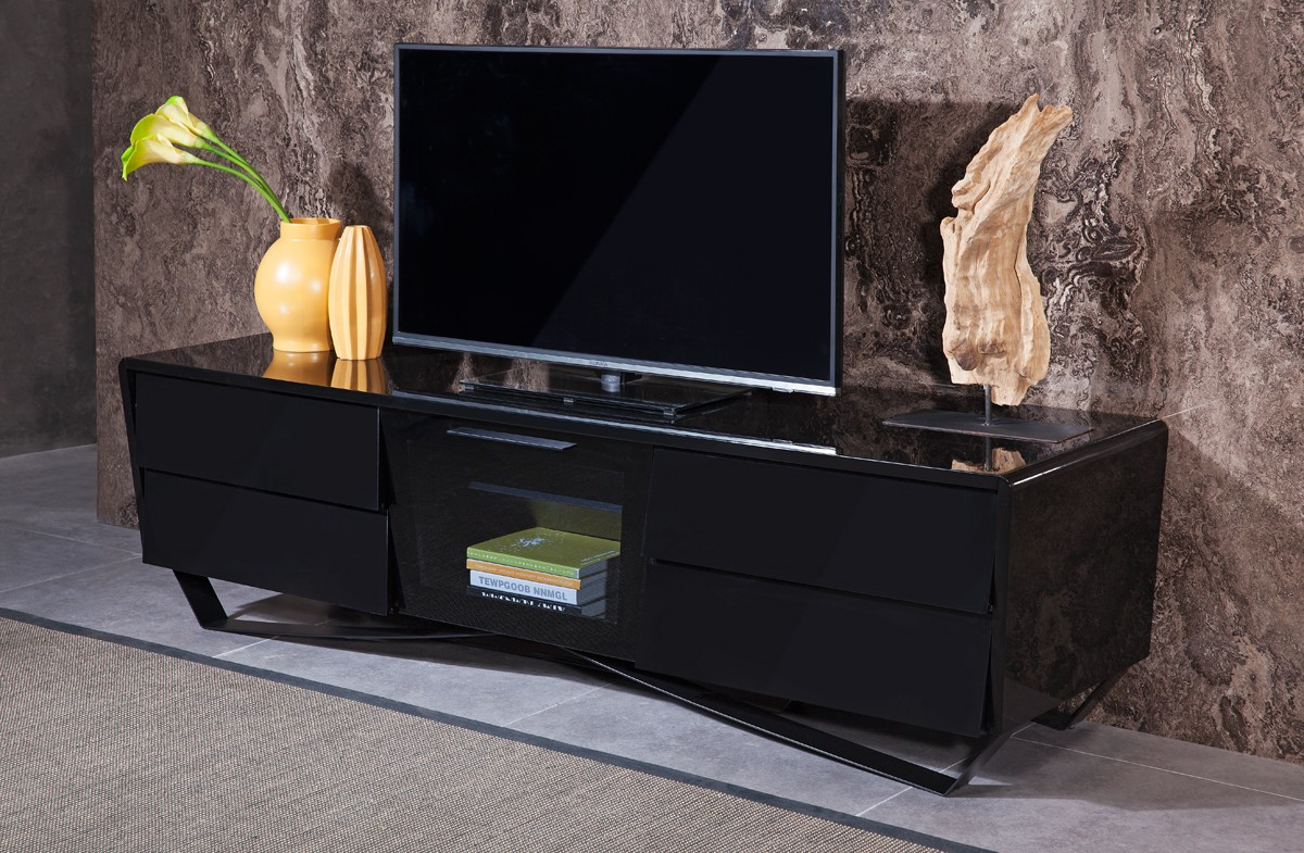 Plasma And Lcd Tv Stands Stylish Accessories Black Lacquer Contemporary