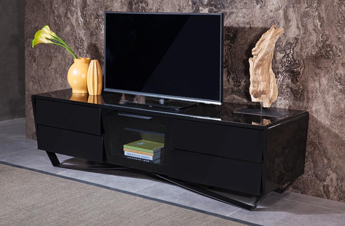 Black Lacquer Contemporary Tv Consoles On Legs Houston