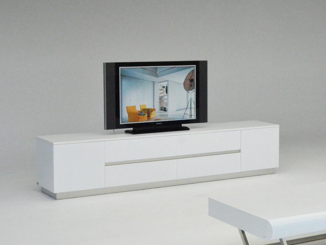 Contemporary White Crocodile Texture And Lacquer TV Unit
