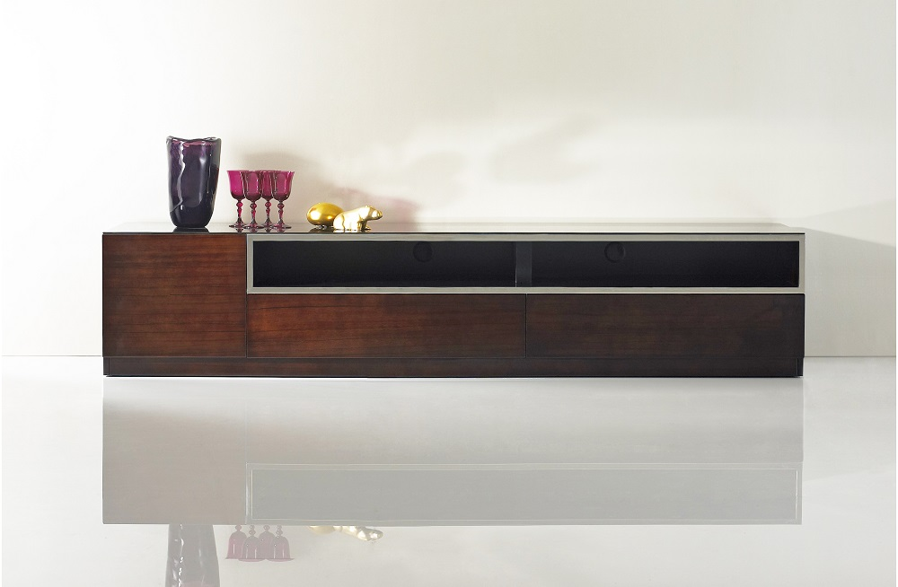 Dark Wood Tone Entertainment TV Stand With Glass Top