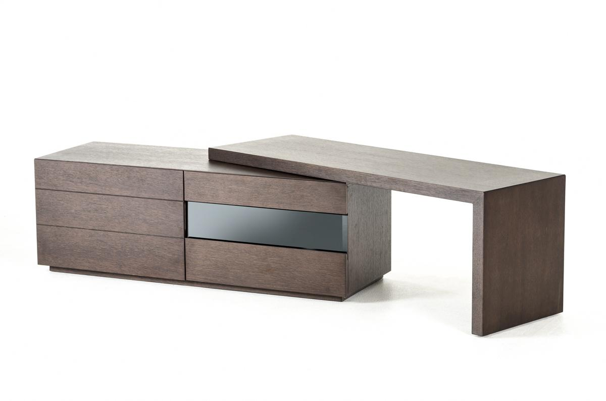 Extendable Contemporary Brown Oak Adjustable Tv Stand