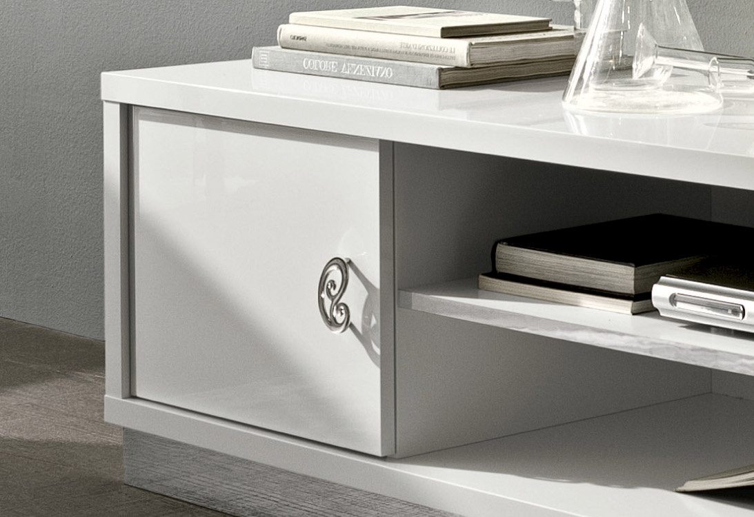 Long White Contemporary TV Stand Base in Lacquers - Click Image to Close
